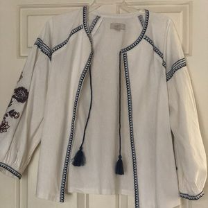LOFT Medium Peasant Linen Jacket w Embroidery